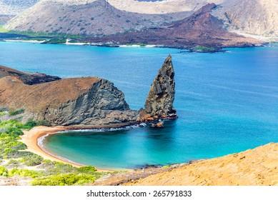 View of Pinnacle Rock on Bartolome Island in the Galapagos Island in Ecuador
