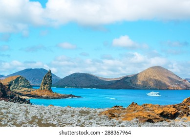 View of Pinnacle Rock and Sullivan Bay in the Galapagos Islands