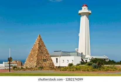 view of the piramid and lighthouse at the Donkin reserve Port Elizabeth south africa