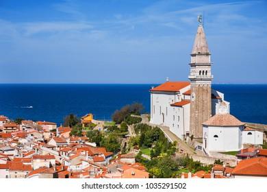View of Piran town, Slovenia. Famous Slovenian tourist destination