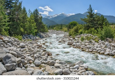 View from the Pirin national Park on the rocky river which flows through the town Bansko - Bulgaria