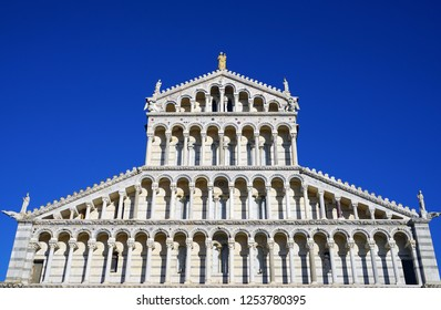 View of the Pisa Cathedral (Santa Maria Assunta) on the Square of Miracles (Piazza dei Miracoli) complex near the Leaning Tower of Pisa in Tuscany, Central Italy