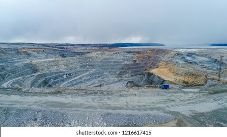 View of a pit on extraction of ore, in Rossi, Siberia, shooting from air