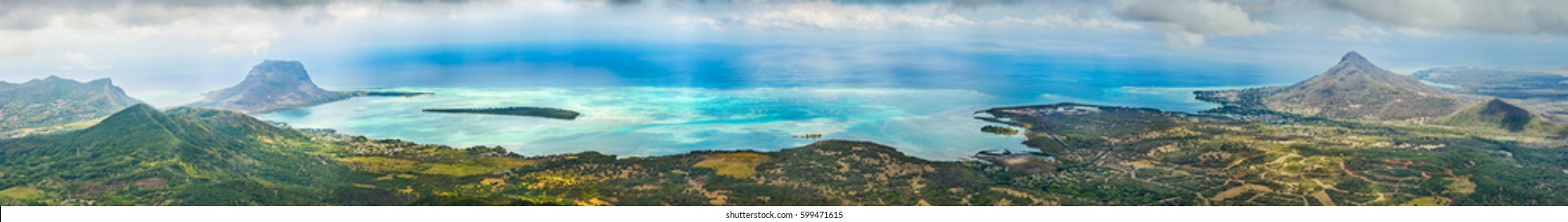 View from Piton de la Petite Riviere Noire, highest peak of Mauritius.  Panorama