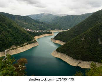 The view of Piva lake in Montenegro. Autumn 2019