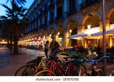 View of Placa Reial in  evening time. Barcelona, Catalonia