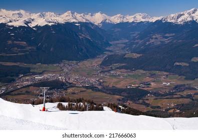 View from Plan de Corones - Kronplatz - towards Brunico - Bruneck - , Val di Pusteria - Pustertal - and Zillertal Alpen in spring