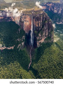 The view from the plane of the Angel Falls is worlds highest waterfalls (978 m) - Venezuela, Latin America
