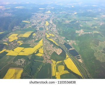 View from the plane to countryside of Czech Republic