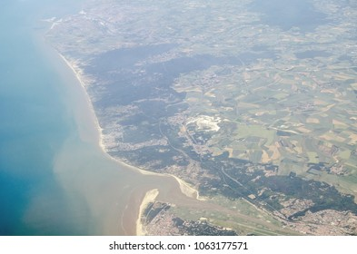 View from a plane of the French resort of Le Touquet on the shores of La Manche / English Channel in the Pas de Calais departement of Northern France.