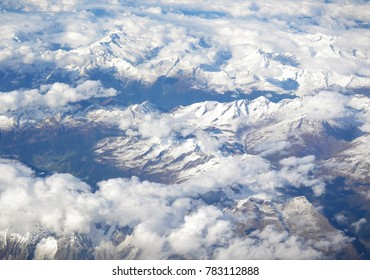 View from the plane to the mountains
