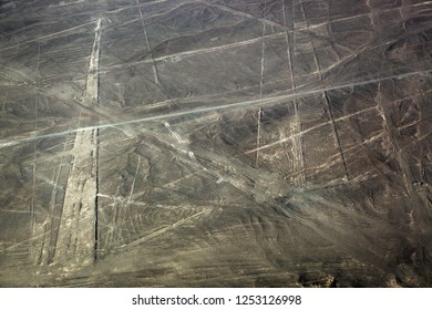 view from plane on the lines plateau Nazca