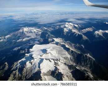 View from the plane on mountains near Vancouver, British Columbia, Canada