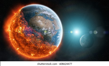 View of planet earth burning in space 3D rendering elements of this image furnished by NASA