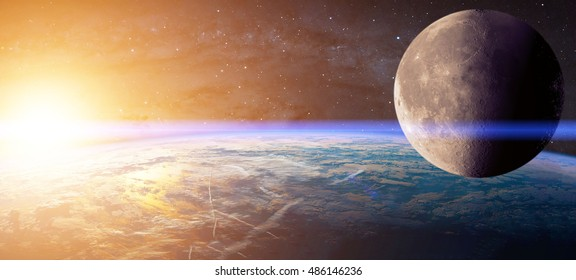 View of planet earth, moon and sun. Abstract background of cosmos. Elements of this image are furnished by NASA