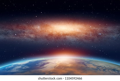 """View of the planet Earth from space during a sunrise against milkyway galaxy """"Elements of this image furnished by NASA"""