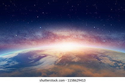 "View of the planet Earth from space during a sunrise against milkyway galaxy ""Elements of this image furnished by NASA """