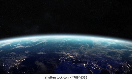 View of the planet Earth from space during a sunrise 3D rendering elements of this image furnished by NASA