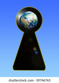 view of the planet earth through the keyhole