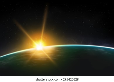 View of planet sunrise / sunset. Beautiful universe realistic illustration. Planet wallpaper.