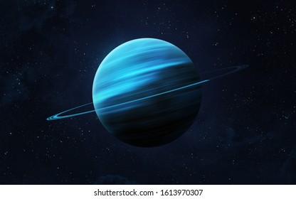View of planet Uranus from space. Space, nebula and planet Uranus. This image elements furnished by NASA.