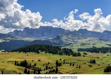 View of the plateau from Alpe di Siusi or Seiser Alm in the Dolomites in South Tyrol, Italy