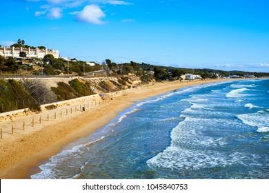 a view of the Platja Llarga beach in Tarragona, Spain