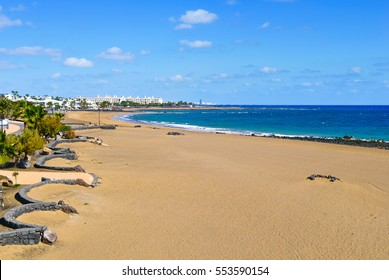 a view of the Playa de Matagorda beach in Puerto del Carmen, Lanzarote, in the Canary Islands, Spain