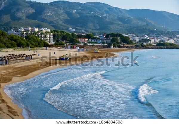 a view of the Playa Romana beach in Alcossebre, in the Costa del Azahar, Spain