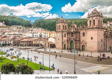 View of Plaza de Armas in Cusco Peru