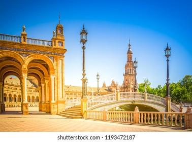 view of Plaza de Espana, Seville, Spain