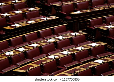 View of the plenary room of Greek Parliament during  a parliamentary session for economy in Athens, Greece on Aug. 05, 2015.