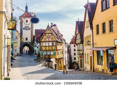 View at Ploenlein in Rothenburg ob der Tauber is a well-preserved medieval town in the district of Ansbach of Mittelfranken (Middle Franconia), the Franconia region of Bavaria, Germany.