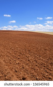 view of a plowed field in the province of Segovia, Castile-Leon, Spain
