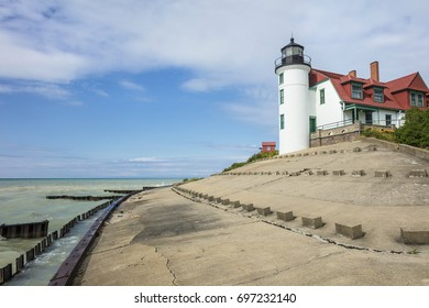 A view of Point Betsie Lighthouse in Frankfort, Michigan, USA