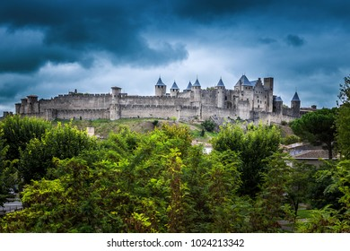 View point of Cite de Carcassonne, castle and historical fortress France.