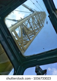View point from driver cabin in crawler crane. See how the crane work at jobsite.