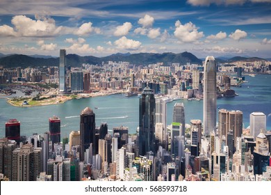 View point of Hongkong city and Kowloon city from the top of victoria peak, Hong kong island, China
