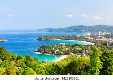 View point of Karon Beach, Kata Beach and Kata Noi in Phuket, Thailand. Beautiful turquoise sea and blue sky from high view point.