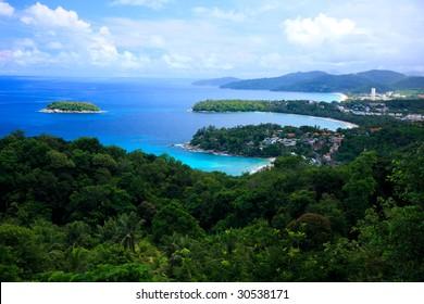 View point of Kata Noi, Karon Beach and Karon Beach, Phuket, Thailand