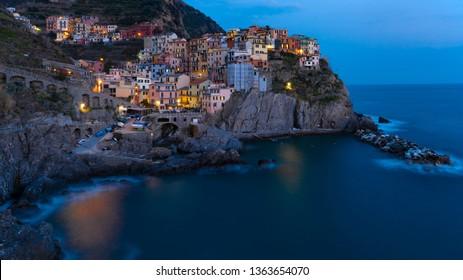 View point of Manarola, 1 of 5 fishing village of Cinque Terre, coastline of Liguria in La Spezia, Italy