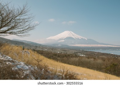 view point of Mount Fuji at Yamanaka Lake in Winter