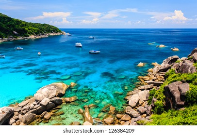 View Point at Similan island, Warm and clear azure ocean waters, Phuket, Thailand