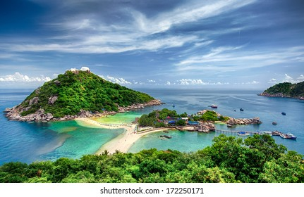 View point from top of mountain for see the beach, sea and nature of NangYuan and Tao island
