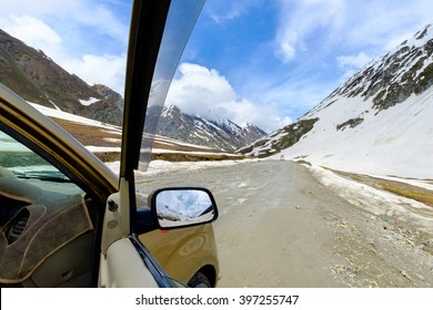 view point at Zojila altitude 11459 feet  Kashmir to Leh, India, along NH 1D road