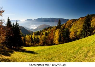 View from Pokljuka Plateau, Slovenia.