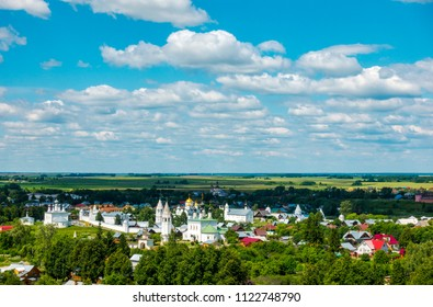 View of the Pokrovsky Monastery from the bell tower in Suzdal, Vladimir region, Russia