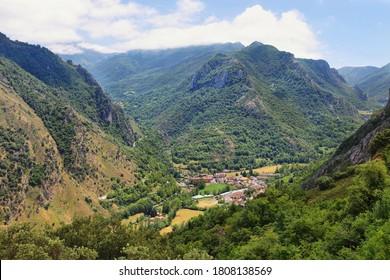 View of Pola de Somiedo village in Somiedo nature reserve, spain - Shutterstock ID 1808138569