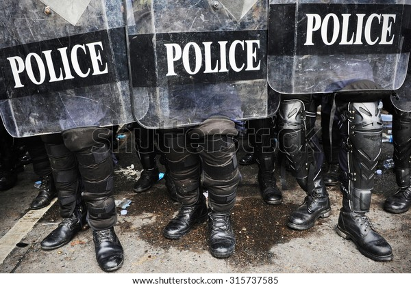 view of Police Officers in Riot Gear