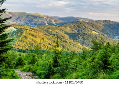 View of Polish mountain Skrzyczne from Beskidy Mountains - Klimczok peak (Beskid Slaski). Beskid Slaski is a part of Karpaty (Carpathian mountains). Europe